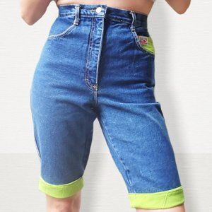 80s Denim High Waisted Shorts Neon Green Accents